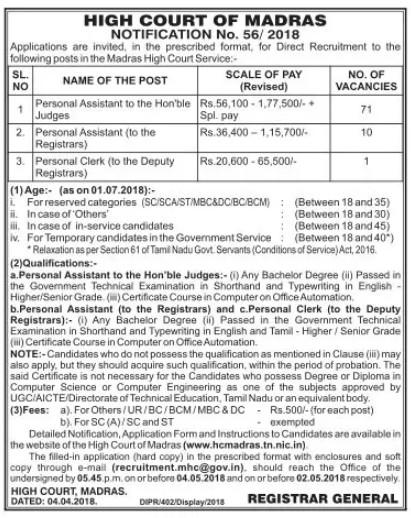 Madras-High-Court-Recruitment-PA-jobs Offline Govt Job Form on