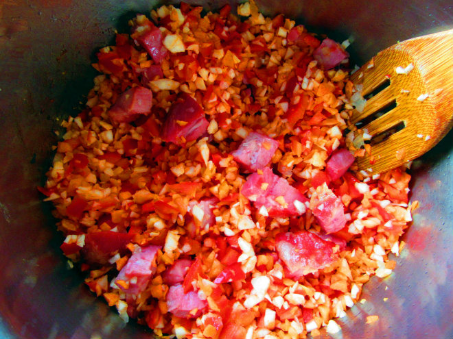 Bean and barley stew by Laka kuharica: add mirepoix to onions and smoked meat.