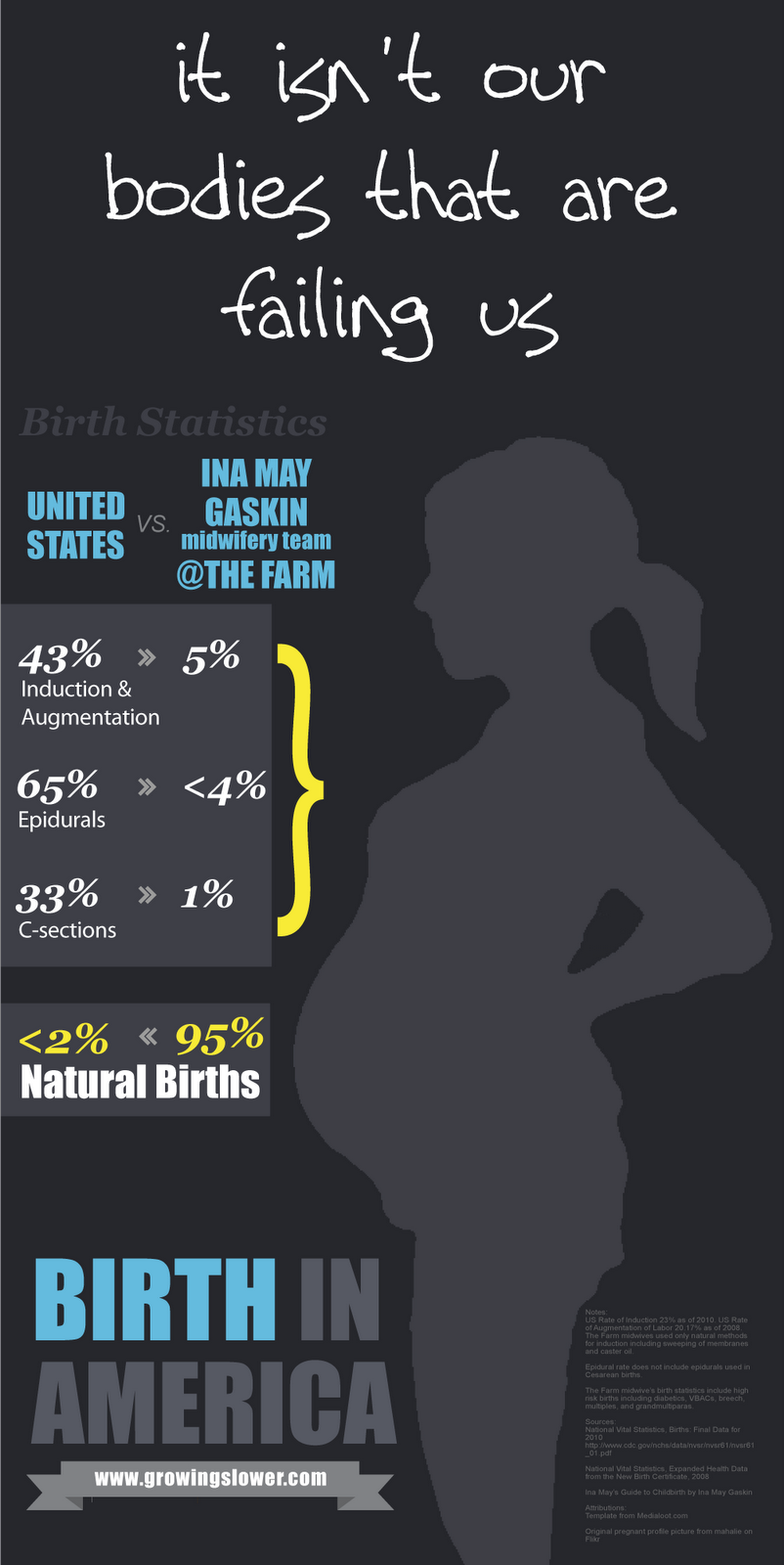 Natural Birth Statistics in America Infographic