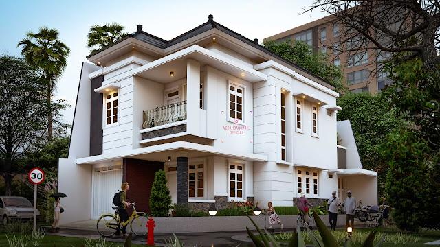 Rumah bernuansa era Kolonial di era Milenial, 214 meter2, 2 lantai, Lahan Sudut/Pojok/Hook