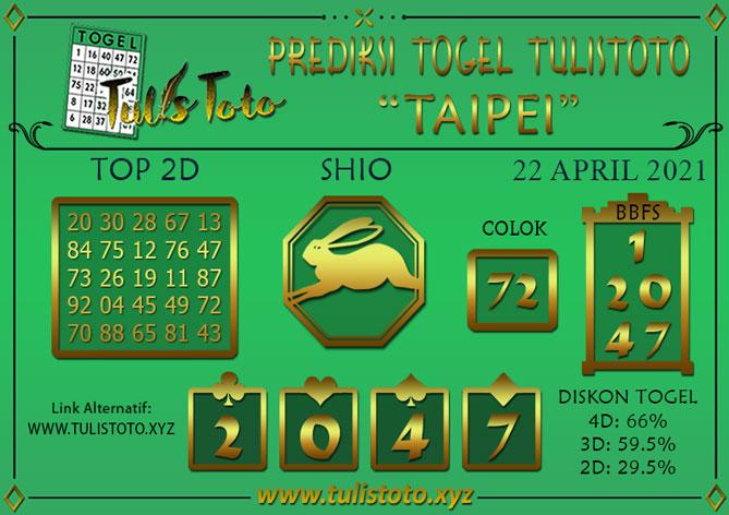 Prediksi Togel TAIPEI TULISTOTO 22 APRIL 2021