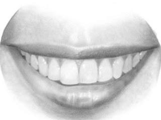 Karakalem ile ağız ve dişler nasıl çizilir adım 1