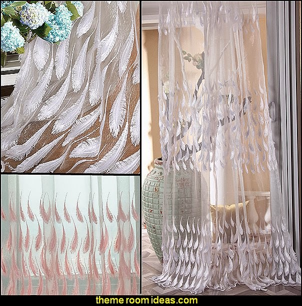 Luxury Peacock Feather Design Embroidery Sheer Curtains