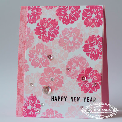 Pink monochromatic stamped handmade card for chinese new year using altenew crisp inks and inkadinkado stamps