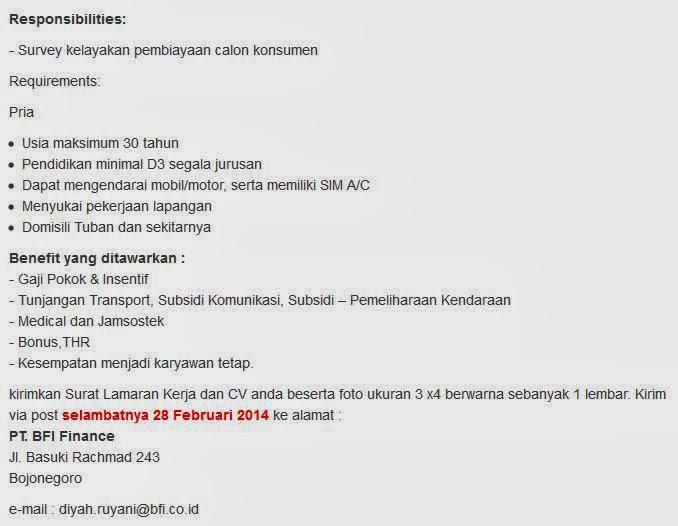 Lowongan Pekerjaan Terbaru 2013 Untuk Daerah Surabaya Lowongan Kerja Terbaru Info Pekerjaan 2015 Job Loker Lowongan Kerja Terbaru Bojonegoro 2014 Pt Bfi Finance Tbk Portal