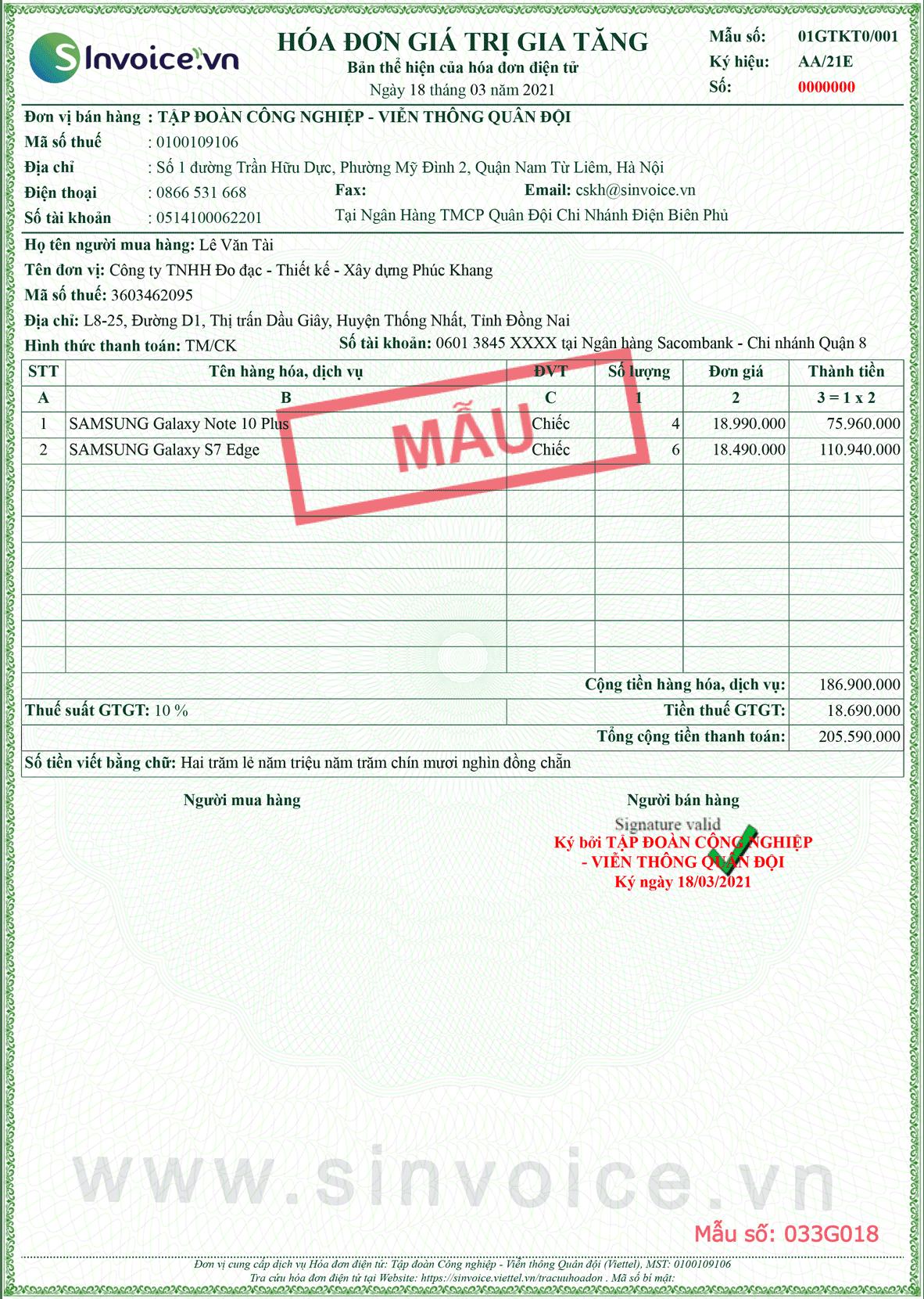 Mẫu hóa đơn điện tử số 033G018