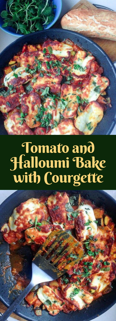Tomato and Halloumi Bake with Courgette #vegan #easy