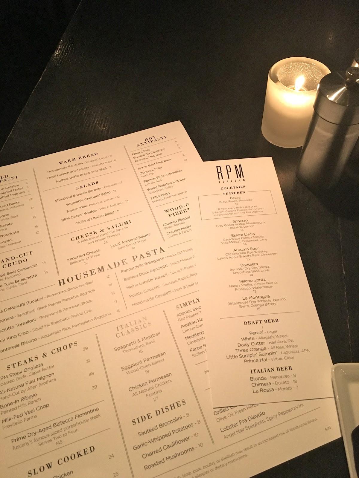 rpm Italian menu