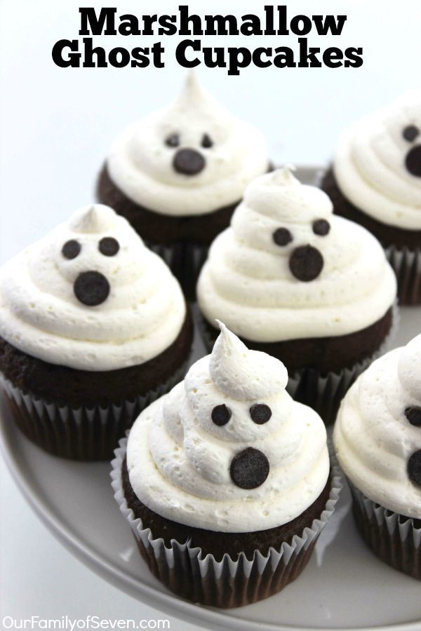 Marshmallow Ghost Cupcakes #cupcakes #marshmallow #dessert #cakes #brownies