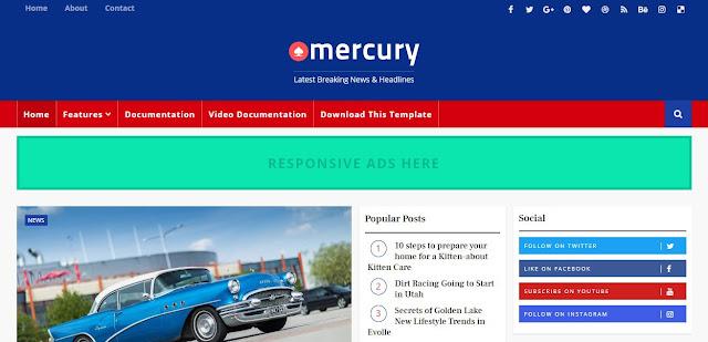 Mercury News Portal Blogger Template