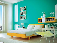 Bedroom wall color idea with Carribean green
