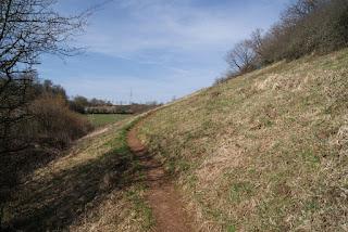 Ein schmaler Pfad führt hinter Nettersheim eine Anhöhe hinauf