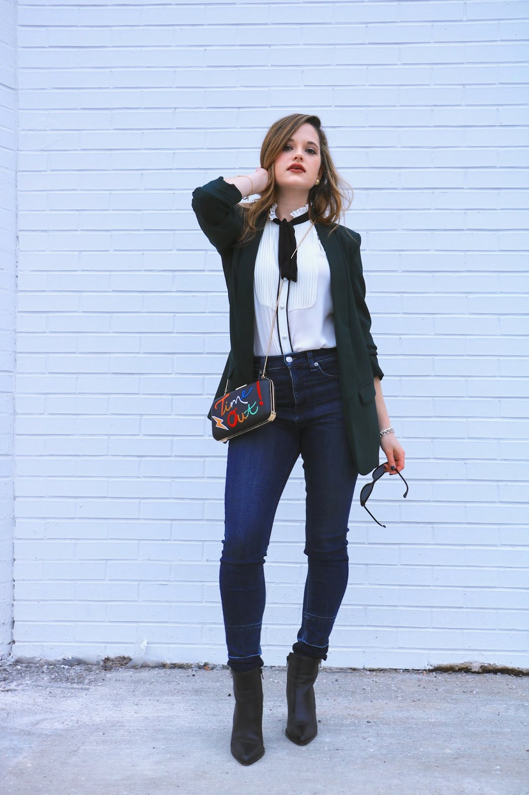 Nyc fashion blogger Kathleen Harper wearing skinny Rag & Bone jeans.