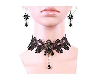 Gothic Victorian choker necklace and earrings