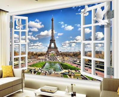 tapet fönster utsikt paris eiffeltornet fototapet 3d stad vardagsrum