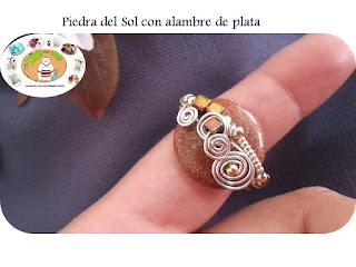 anillo con venturina y alambre de plata