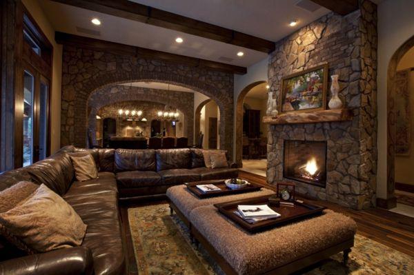 15 fotos de salas con paredes en piedra salas con estilo - Fotos de salas rusticas ...