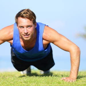A man doing workout in ground