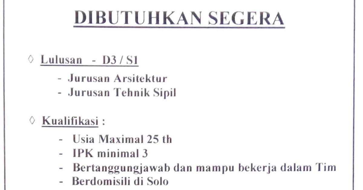 Lowongan Kerja Pt Suryamustika Artanusamas Untuk Lulusan Arsitektur Dan Teknik Sipil Juli 2019 Loker Swasta