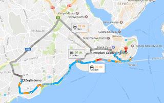 Zeytinburnu-Sultanahmet-arasi-kaç-km