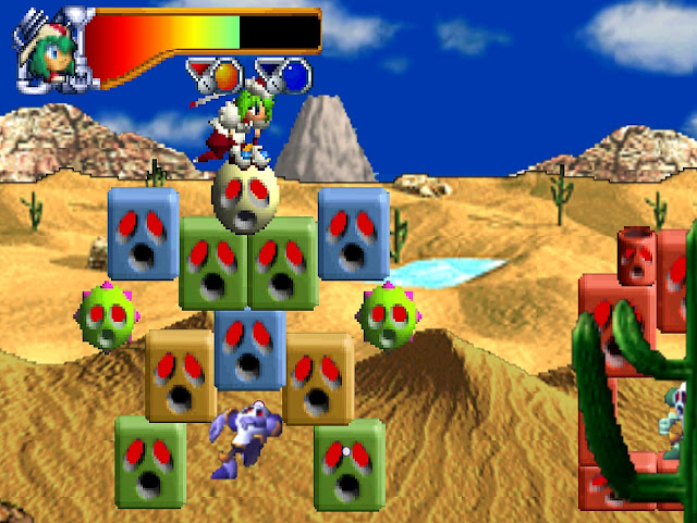 The main character Marina directs a robot through the desert using her rocket boosters.