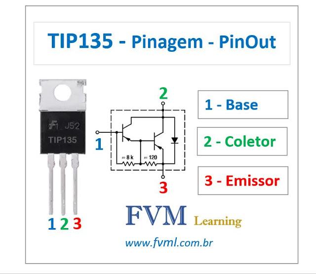 Pinagem - Pinout - Transistor Bipolar - PNP - TIP135 - Características