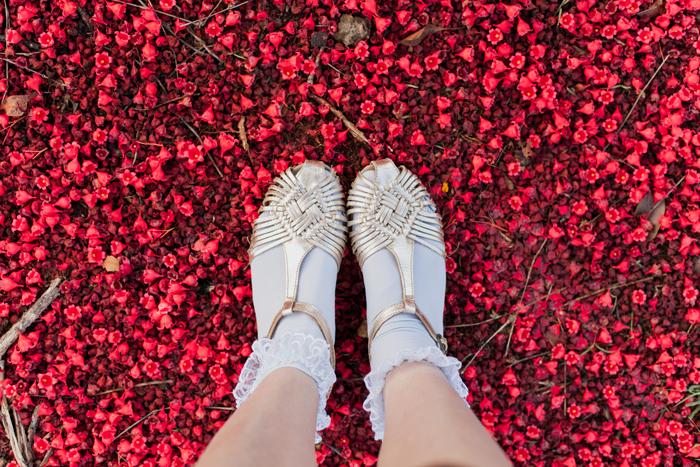 feet selfie on flowers
