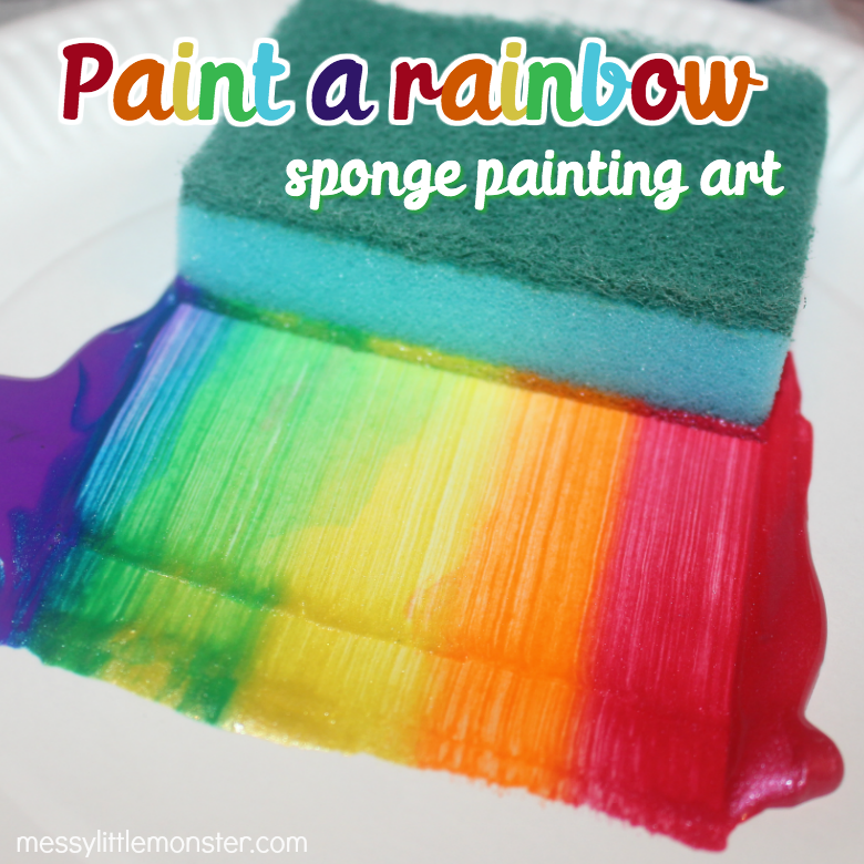 Paint a rainbow sponge painting art