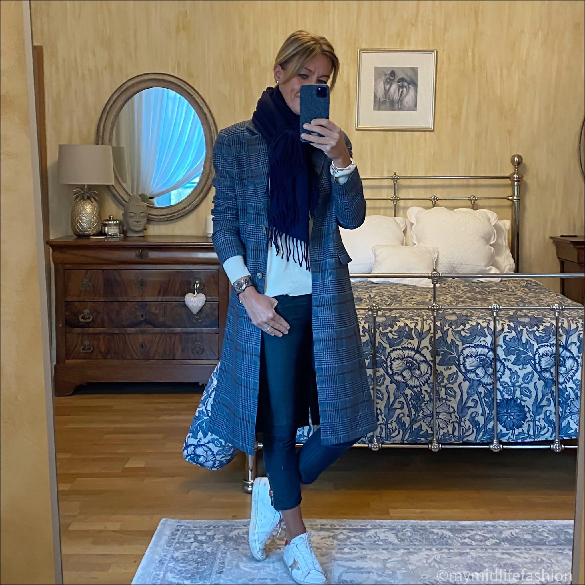 my midlife fashion, baukjen Agnes Coat, acne studios navy fringed wool scarf, marks and Spencer pure cashmere crew neck jumper, Isabel Marant Etoile biker jeans, golden goose superstar low top leather trainers