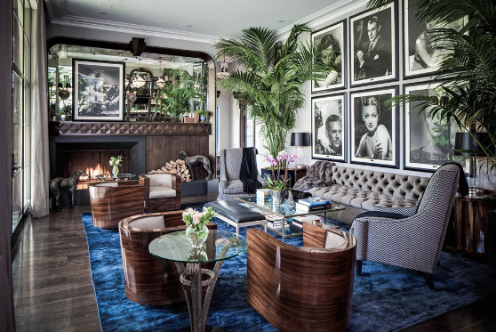A cozy family room with art deco style