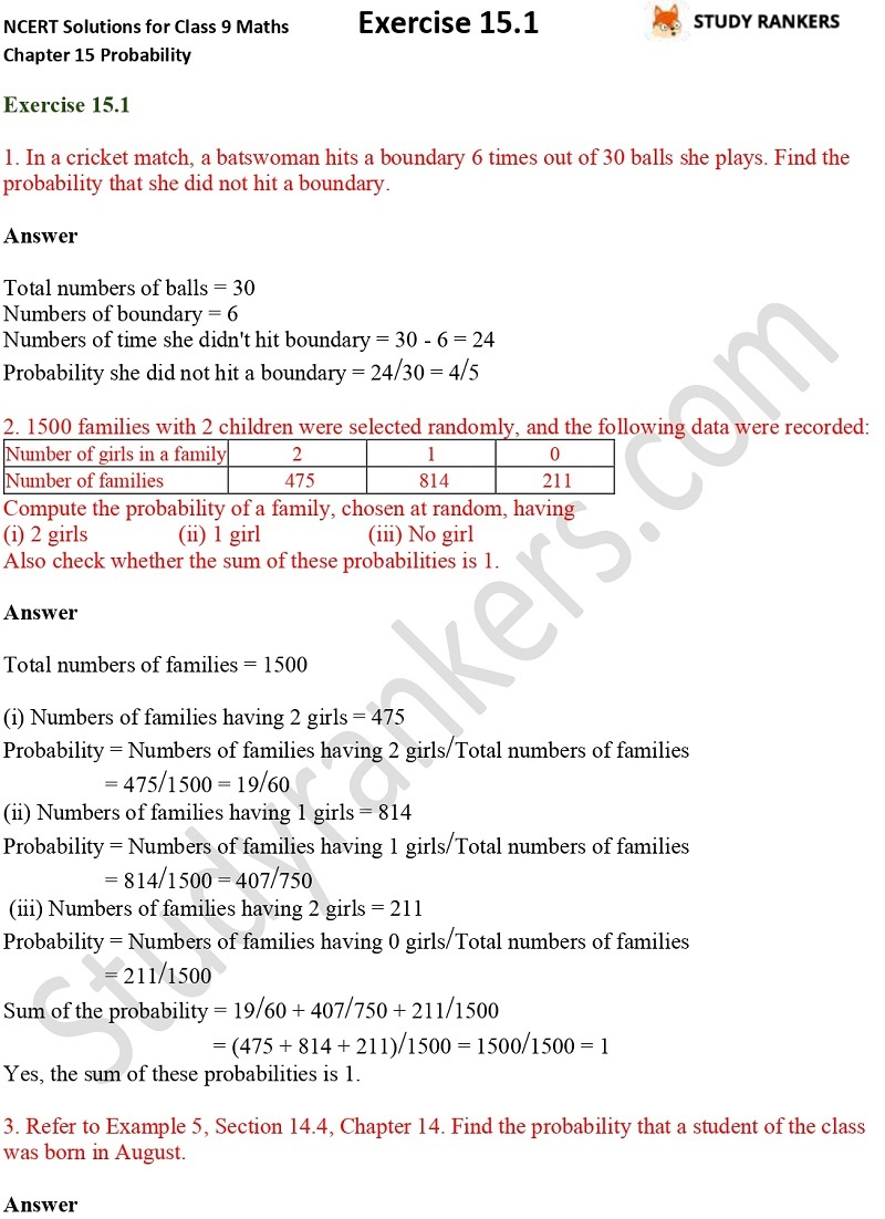 NCERT Solutions for Class 9 Maths Chapter 15 Probability Exercise 15.1 Part 1