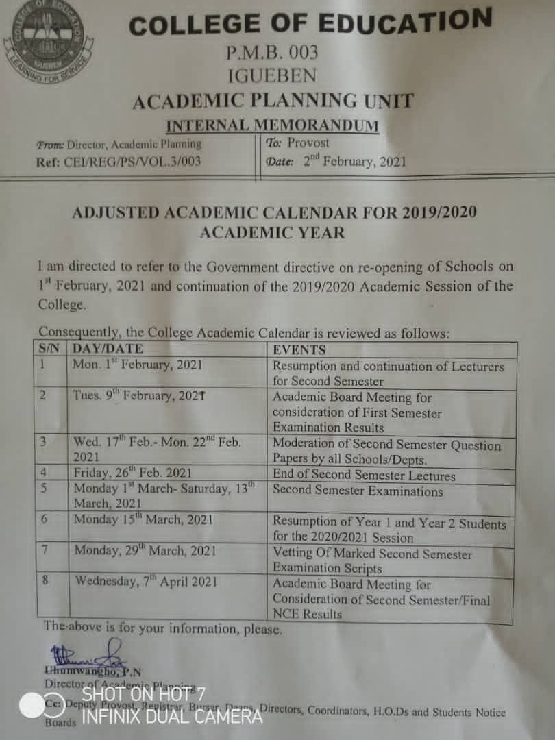 COE Igueben Academic Calendar 2019/2020  [ADJUSTED]