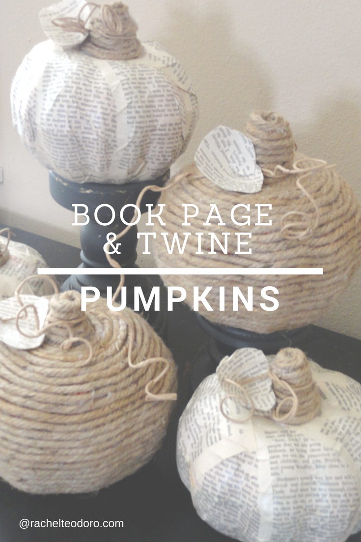 upcycled faux pumpkins using twine and book pages to create inexpensive fall decor