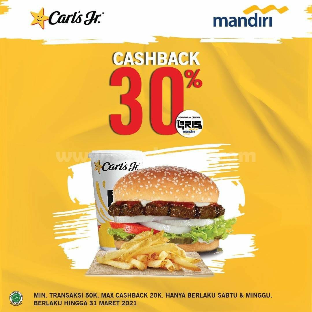 CARL'S JR Promo Cashback 30% khusus via QRIS Mandiri Online