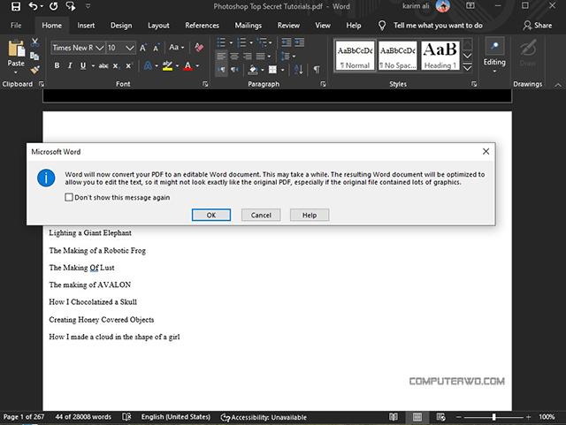PDF read aloud open in word reader - قراءة بالصوت