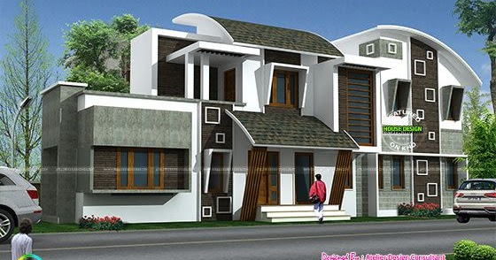 Cute Modern style curve roof home - Kerala home design and ...