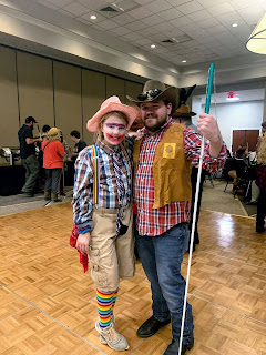 Rodeo Clown Hailee Hecker with her dad, cowboy Nate Hecker