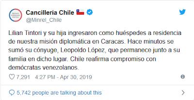 Tuíte da chanceleria chilena confirmando pedido de López