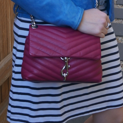 white and navy striped tee dress with Rebecca Minkoff Edie small crossbody bag in magenta | awayfromtheblue