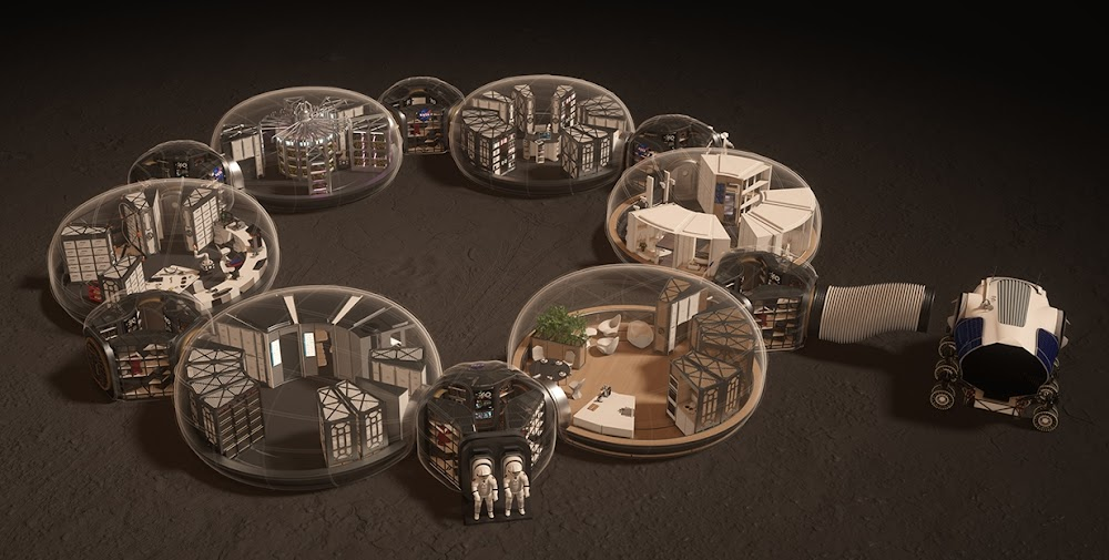 Mars base schematics by Hassell & EOC (NASA's 3D-Printed Habitat Challenge)