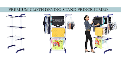 Happer Premium Double Supported 3 Layer Cloth Drying Stand with Breaking Wheels