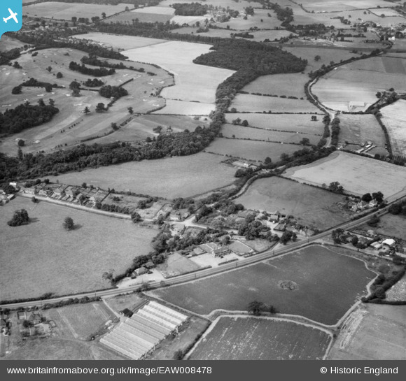 Photograph of The hamlet, Bell Bar, 1947 Image courtesy of Britain From Above