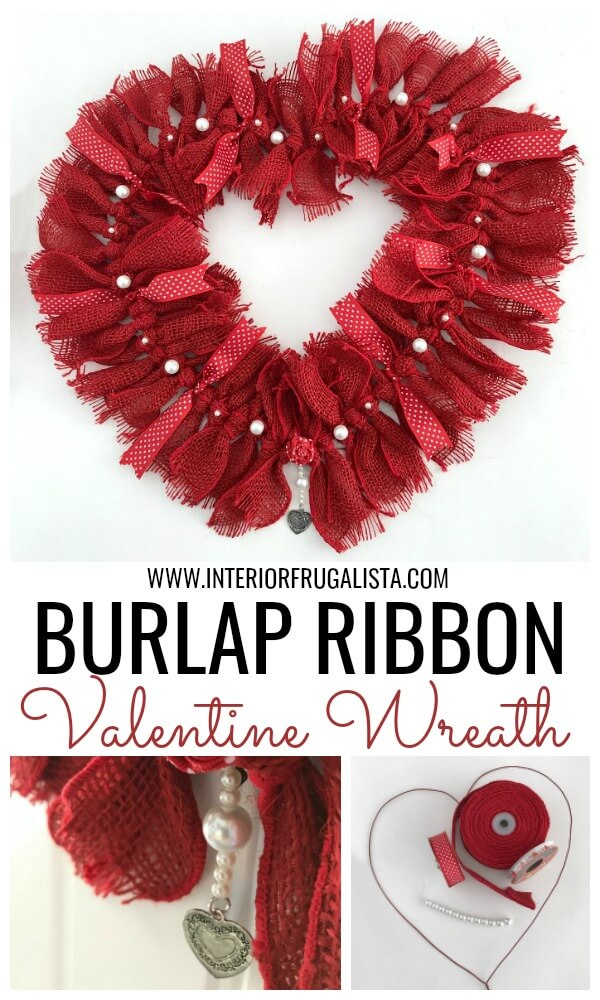 How to make a simple heart-shaped rag wreath for Valentine's Day with red burlap ribbon for a budget-friendly handmade Valentine door wreath idea. #ragwreath #burlapwreath #valentinewreath #heartwreath
