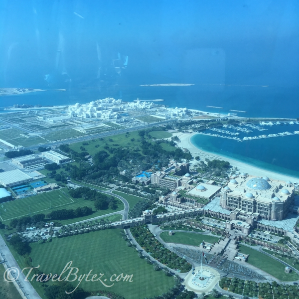 UAE Presidential Palace (white, background) and Emirates Palaces (tan, foreground)