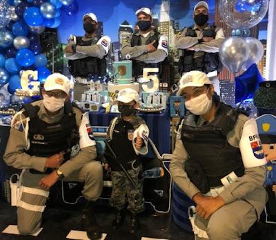 Em Maceió, Militares do BPRv prestigia aniversário de garoto que sonha em se tornar policial