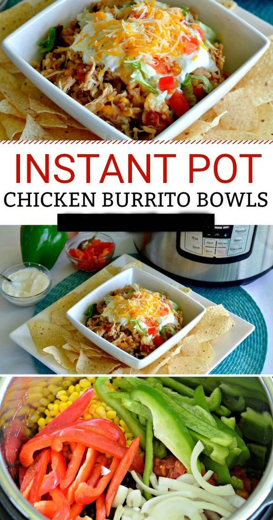 Pleasant Instant Pot Shredded Chicken Burrito Bowls Angelica Vianna Onthecornerstone Fun Painted Chair Ideas Images Onthecornerstoneorg