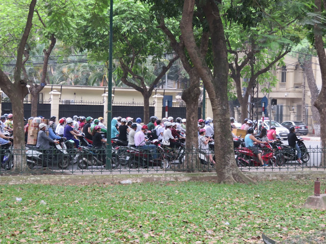 Motorcycles on the streets of Hanoi, Vietnam