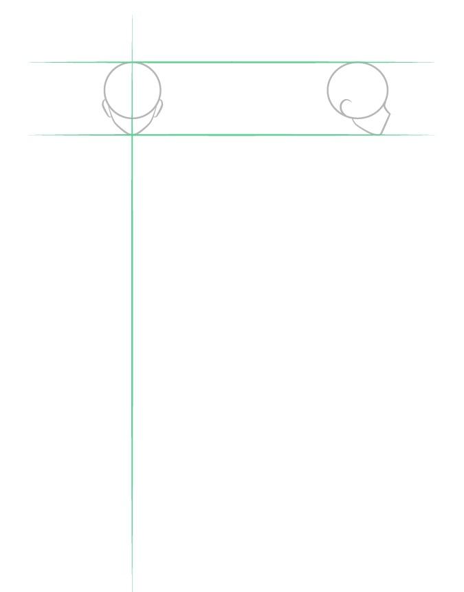 Menggambar struktur kepala pria anime