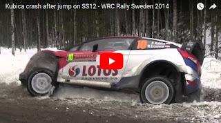 Kubica crash after jump on SS12 - WRC Rally Sweden 2014