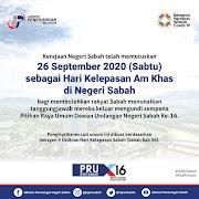 26 September 2020 Hari Kelepasan Am Khas Di Negeri Sabah